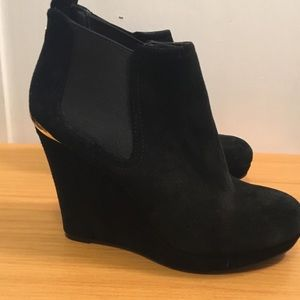 Jessica Simpson black suede wedge boots Sz 7.5